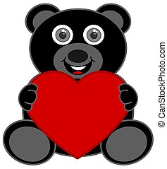 a black teddy bear happy to receive a heart