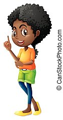 A Black teenager - Illustration of a Black teenager on a...