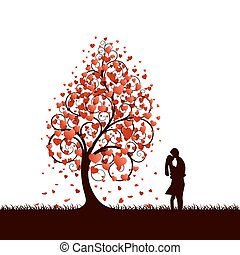 A black tree with red hearts instead of leaves.