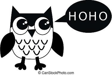 a black white owl
