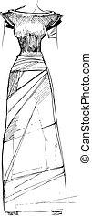 black-white sketch of long woman dress