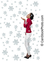 A Black Woman Catching Snowflakes