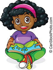 A Black young girl reading - Illustration of a Black young...