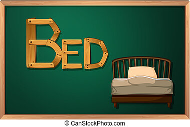 A blackboard with a bed
