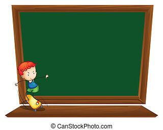 A blackboard with a boy skating