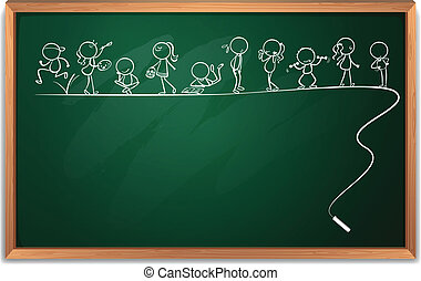 Illustration of a blackboard with a doodle art on a white background