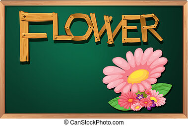 A blackboard with a flower
