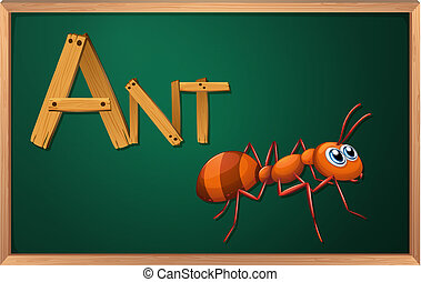 A blackboard with an ant