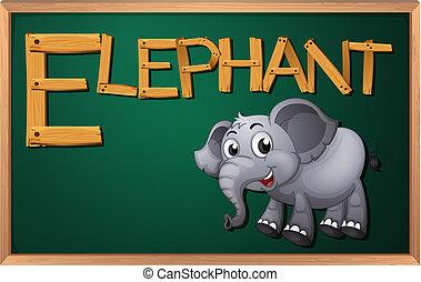 A blackboard with an elephant