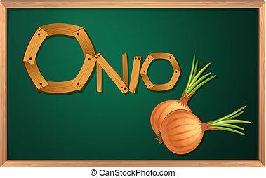 A blackboard with an onion