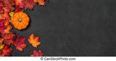 A blackboard with autumn foliage and a pumpkin