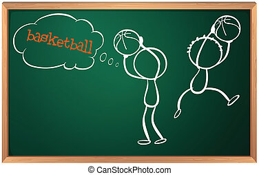 A blackboard with basketball players
