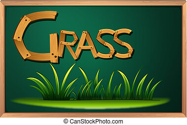 A blackboard with grass