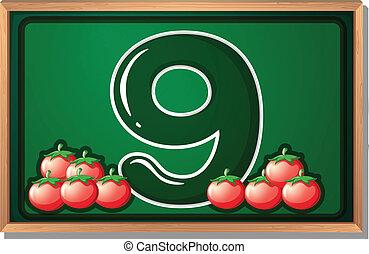 A blackboard with nine tomatoes