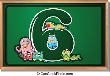 A blackboard with six monsters