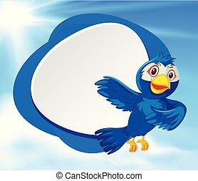 A blank blue bird banner