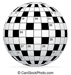 A blank crossword vector in form world globe