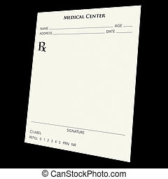 prescription pad - A blank prescription pad over a black...