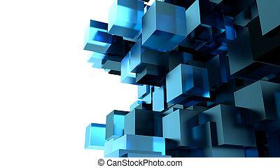 a, bleu, cubes, résumé, fond