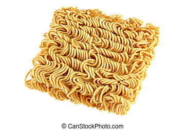 A block of dried Instant noodles isolated on a white...