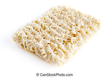 Instant noodles - A block of Instant noodles on white...