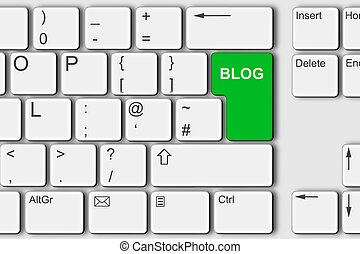 Blog concept PC computer keyboard 3d illustration green