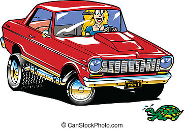 nova - a blond gal in a 1964 nova about to run over a slow...