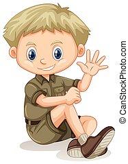 A blonde Boy Scout