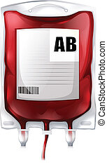 A blood bag with type AB blood - Illustration of a blood bag...