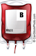 Illustration of a blood bag with type B blood on a white background
