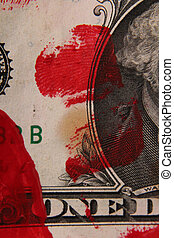 A bloodstained one-dollar bill