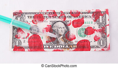 A bloodstained one-dollar bill with a injection