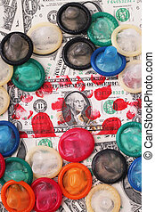 A bloodstained one-dollar bill with multicolored condoms