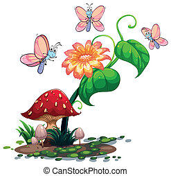 A blooming flower surrounded with three butterflies