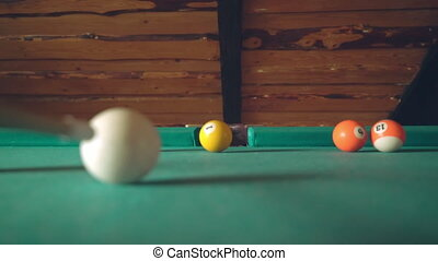 A blow on the ball, the ball falls into the pocket HD video