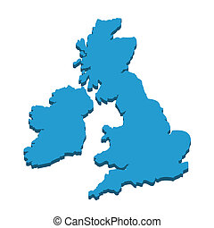 A blue 3D map of the British Isles