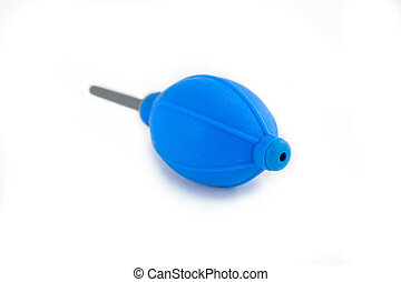 A blue air blower for cleaning a dust on film or digital camera sensor. isolated on white background.