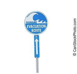 Tsunami evacuation route sign isolated on white