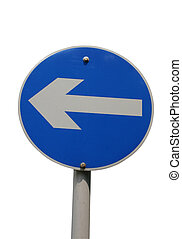 A blue arrow sign pointing left isolated on white