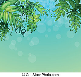 A blue background with green leafy plants