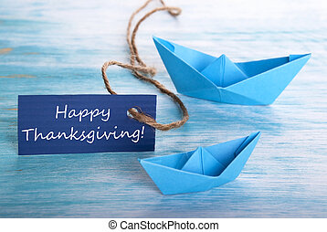Blue Banner with Happy Thanksgiving
