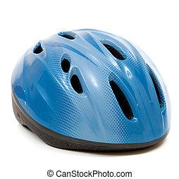 A blue bike helmet on a white background