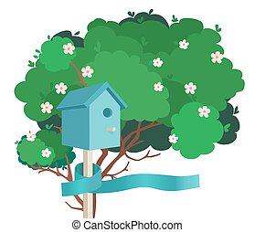 A blue birdhouse on a blossoming tree