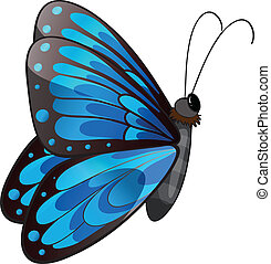 A blue butterfly - Illustration of a blue butterfly on a...