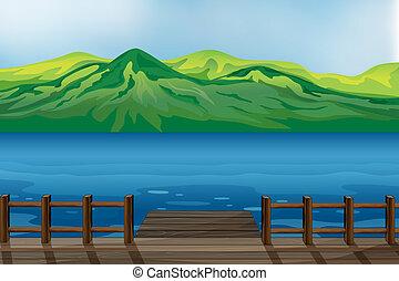 A blue calm sea - Illustration of a blue calm sea