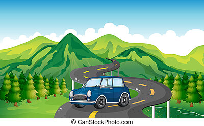 A blue car and the winding road
