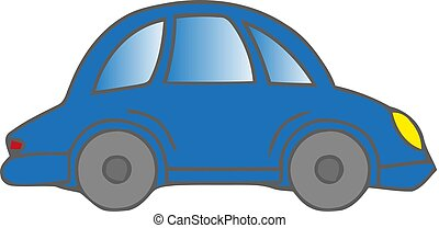 A blue car on a white background. Vector illustration.