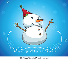 A blue christmas card template with a snowman