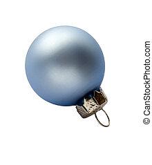 A blue christmas decoration - A small blue satin chrismas ...