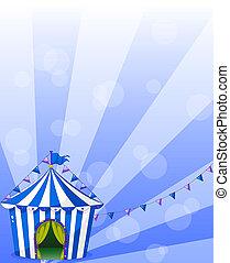 A blue circus tent